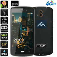 """5.5"""" 4G LTE Smartphone Rugged Android Dual SIM Waterproof AMOLED NFC AGM +32GB"""