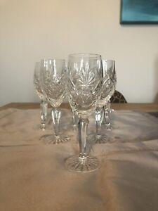 BOHEMIA CRYSTAL CUT WINE GLASSES X6 Vintage