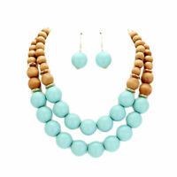 TIGERSTARS LOVELY DOUBLE STRAND TURQUOISE WOOD BALLS NECKLACE EARRING SET