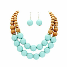 LOVELY DOUBLE STRAND TURQUOISE WOOD BALLS NECKLACE EARRING SET