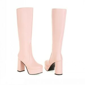 Women's Causal Square Toe High Heel Mid-Calf Knee High Boots Punk Gothic Shoes L