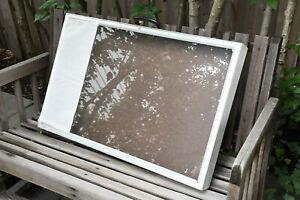 "Portable metal display case, 32""x24""x3"" w/ glass top, lock and keys"