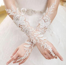 98g Bridal Wedding Prom Rhinestone Accent White Cut Lace Fingerless Gloves