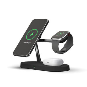 3In1 Qi Magnetic Wireless Charger Charging Stand Dock For iWatch iPhone 12 Pro