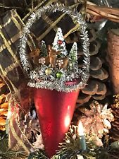 Vintage Style Bethany Lowe Christmas Ornament DEER BOTTLE BRUSH TREES TINSEL 8""