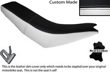 WHITE & BLACK CUSTOM FITS APRILIA MX 125 DUAL LEATHER SEAT COVER ONLY