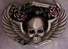 Pewter Belt Buckle Novelty Winged Skull & Roses NEW