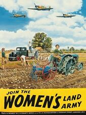 Woman's Land Army, Vintage, Tractor Farm Pick-up, Spitfire, Large Metal Tin Sign