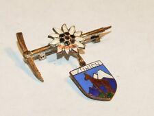 Vintage Zurich Enamel Travel Shield Charm on Pick Axe & Daisy Pin Brooch