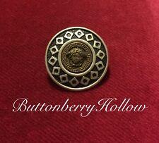 One (1) Vintage Versace Medusa Head Silver & Brass Metal Button