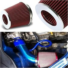 Car Racing Twin Cone Induction Kit Filter 75 mm Neck Red Air Intake Universal
