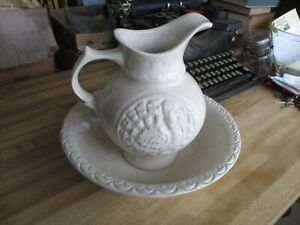 McCoy Pottery Embossed Turkey Gold Speck Flake Wash Basin Bowl and Pitcher #7516