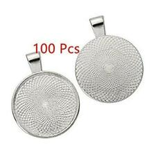100 Pcs Bezel Pendant Trays Round CABOCHON Settings Blanks Asibt 25mm Silver