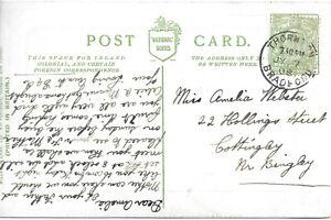 GB 1908 1/2d PPC with Thornton Bradford CDS to Cottingley Nr Bingley