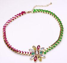 Increíble intrincado oro tono Rosa/verde Gargantilla Brillante Floral Centro (Cl18)