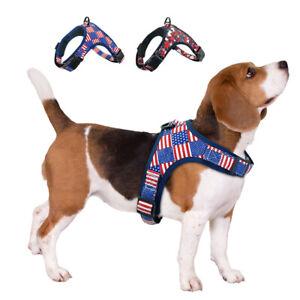 American Flag Dog Harness No Pull Adjustable Soft Padded Vest Outdoor Walking
