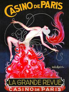 """Vintage French Poster Art CANVAS PRINT Casino De Paris 16""""X12"""""""