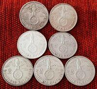 UNIQUE 7 x Full Mint Set 2 ReichsMark 1938 Nazi Silver Coin Lot EF2