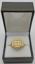 9ct Solid Gold Three Lions Football  Ring SIZE U Hallmarked Boxed Heavy