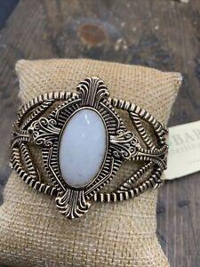 Barse Valor Cuff Bracelet- Snow Quartz- Bronze- NWT