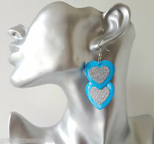 """Pretty 2 """"Long Blue & Luccicante ARGENTO GLITTER doppio cuore pendente orecchini"""