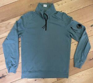 Mens C.P Company 1/4 Zip Sweatshirt Pullover Designer Green Size Large