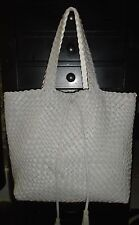 Designer Gray/White Woven Leather Shopper Tote Shoulder Bag Handbag Purse L