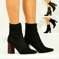 NEW WOMENS ANKLE BOOTS LADIES MID BLOCK HEEL BOOTIES ZIP BLACK SHOES SIZE UK 3-8
