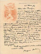 Littérature Hughes Delorme Rouen lettre autographe signée Robert Pinchon 1892