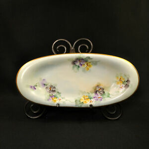 """Limoges D&Co. Delinieres Oval Bowl 13"""" x 6"""" Hand Painted Pansies Gold 1894-1900"""