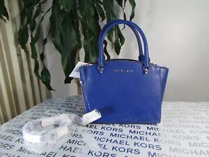 NWT Michael Kors Ellis Leather Small Convertible Satchel Handbag Cobalt