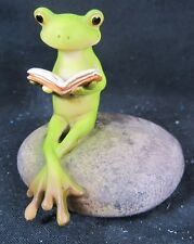 Frog Reading a book on a Stone Fantasy Resin Figurine