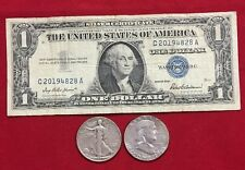 $1.00 Silver Certificate, Walking Liberty Half, and Franklin Half 90% SILVER