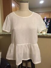 NWT Urban Outfitters Lucca Couture White Mesh Peplum Blouse Size L