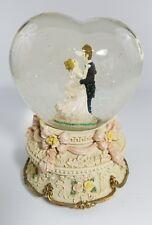 Heart Shaped Snow Globe Windup Musical Wedding Theme Bride & Groom