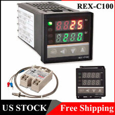 Dual Digital Pid Rex C100 Temperature Controller Max40a Ssr K Thermocouple T1j6