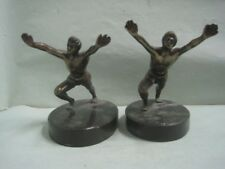 Antique pair of Book Ends bookends in bronze and marble stone