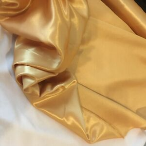 Gold silky satin back dupion fabric material remnant. One metre x 115cm. Sewing