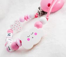 Schnullerkette mit Namen ★ Wolke★ Mädchen rosa Geburt Baby Geschenk Holz