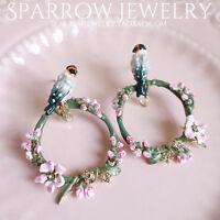 Earrings Clip On Enamel Parrot Flower Bird Pink Green Ring Fine L2