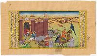 Mughal Miniature Art Hand Paint Historical Procession Watercolor Painting Decor