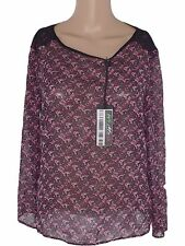 bershka donna maglia blusa nero floreale taglia m medium