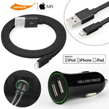 Apple Original Lightning Charging Cable & 2-Port Car Charger For iPhone 7 7Plus
