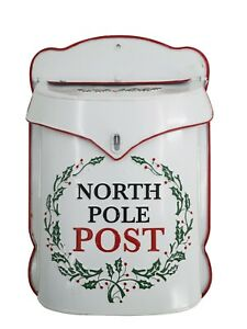 Handmade Red & White North Pole Post Box Mail Letter Santa Wall Mount Christmas