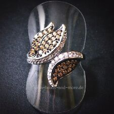Padparadscha Quarz Weißtopas Cluster Designer Ring 925 Silber rhodiniert 18,1 mm