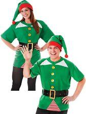 NUOVO KIT Jolly Elfo Uomo Donna Natale Fancy Dress Costume Natale Santa's Helper