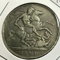 GREAT BRITAIN 1893 SILVER QUEEN VICTORIA CROWN COIN