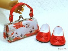 """2pc RED Puppy DOLL SHOES & Clasp PURSE SET fits 18"""" AMERICAN GIRL DOLL"""