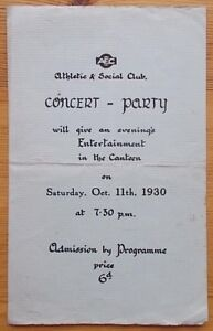 AEC Athletic and Social Club Concert - Party 11th October 1930