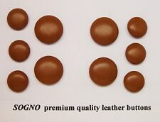 10 MADE IN USA Tan color genuine leather covered jacket buttons, metal loop